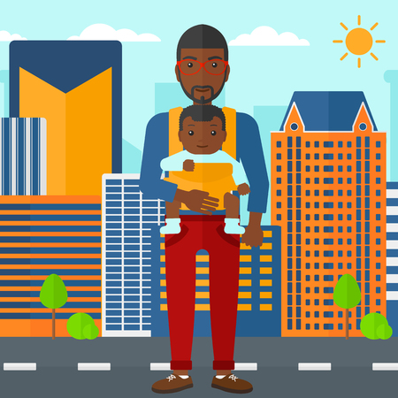 black family: An african-american man carrying a baby in sling on the background of modern city vector flat design illustration. Square layout.