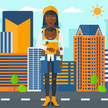 family human: An african-american woman holding baby in sling on the background of modern city vector flat design illustration. Square layout. Illustration