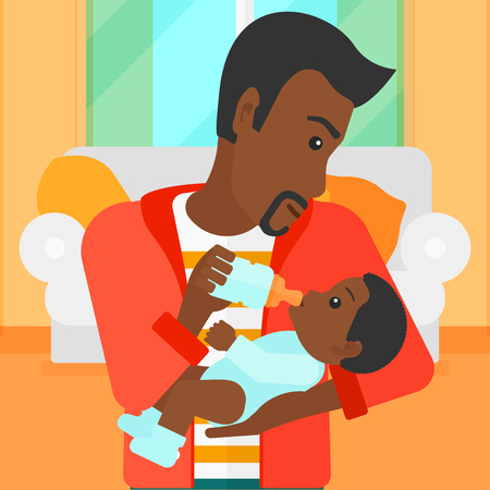 family eating: An african-american man feeding a little baby with a milk bottle on the background of living room vector flat design illustration. Square layout.