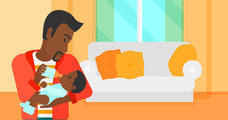 family eating: An african-american man feeding a little baby with a milk bottle on the background of living room vector flat design illustration. Horizontal layout.