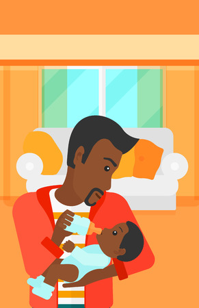 family eating: An african-american man feeding a little baby with a milk bottle on the background of living room vector flat design illustration. Vertical layout.