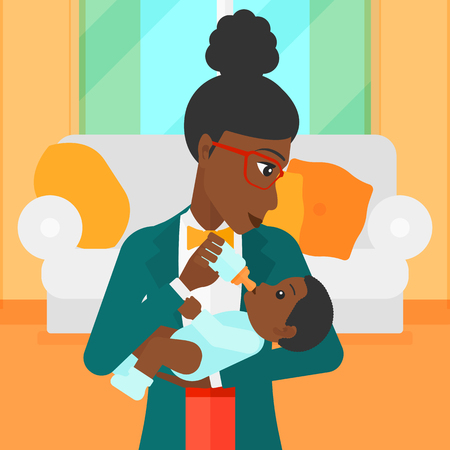 family eating: An african-american woman feeding a little baby with a milk bottle on the background of living room vector flat design illustration. Square layout.