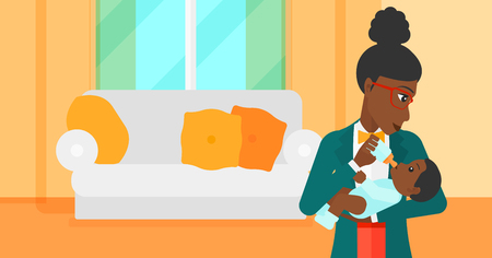 family eating: An african-american woman feeding a little baby with a milk bottle on the background of living room vector flat design illustration. Horizontal layout.