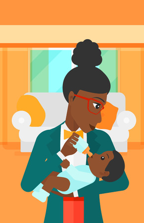 family eating: An african-american woman feeding a little baby with a milk bottle on the background of living room vector flat design illustration. Vertical layout.