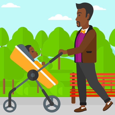 family man: An african-american man walking with baby stroller in the park vector flat design illustration. Square layout.