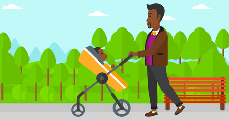 black family: An african-american man walking with baby stroller in the park vector flat design illustration. Horizontal layout.