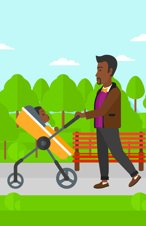 black family: An african-american man walking with baby stroller in the park vector flat design illustration. Vertical layout.