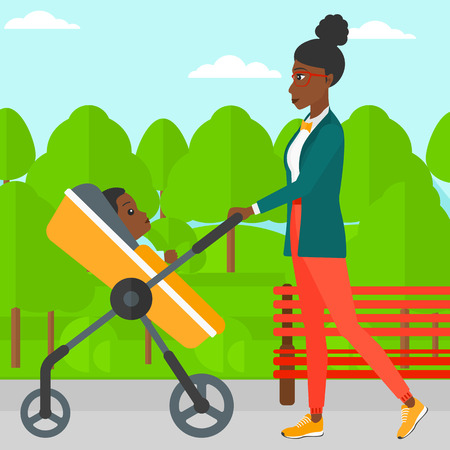 black family: An african-american mother walking with baby stroller in the park vector flat design illustration. Square layout.