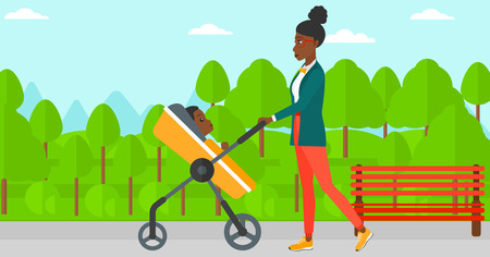 An african-american mother walking with baby stroller in the park vector flat design illustration. Horizontal layout. Illustration