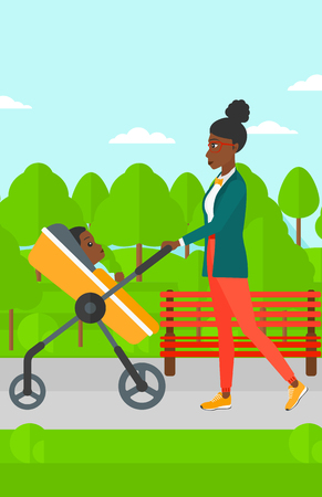 black family: An african-american mother walking with baby stroller in the park vector flat design illustration. Vertical layout.