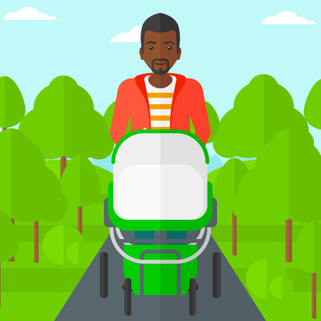 black family: An african-american man walking with baby stroller in the park vector flat design illustration. Square layout.