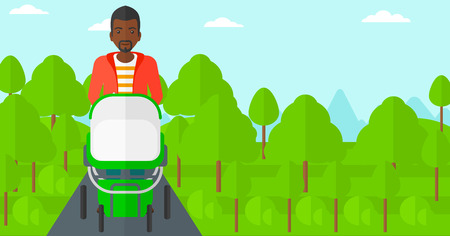 cartoon adult: An african-american man walking with baby stroller in the park vector flat design illustration. Horizontal layout.