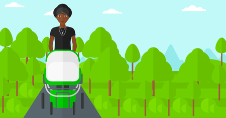 african american family: An african-american mother walking with baby stroller in the park vector flat design illustration. Horizontal layout. Illustration