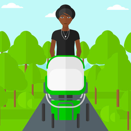 family human: An african-american mother walking with baby stroller in the park vector flat design illustration. Square layout.