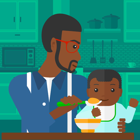 family home: An african-american man holding a spoon and feeding baby on a kitchen background vector flat design illustration. Square layout.