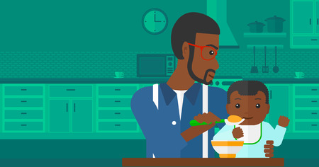 family home: An african-american man holding a spoon and feeding baby on a kitchen background vector flat design illustration. Horizontal layout.