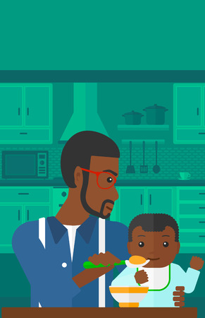 family eating: An african-american man holding a spoon and feeding baby on a kitchen background vector flat design illustration. Vertical layout.