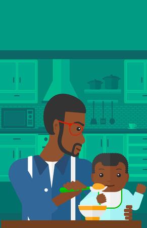 cocina caricatura: Un hombre afroamericano que sostiene una cuchara y la alimentaci�n del beb� en una ilustraci�n de dise�o plano de la cocina del vector del fondo. disposici�n vertical.
