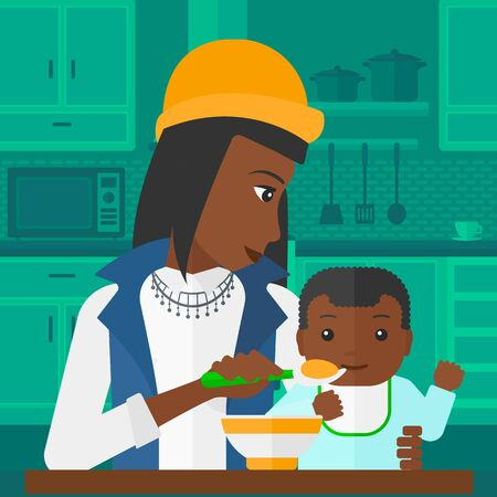 family eating: An african-american mother holding a spoon and feeding baby on a kitchen background vector flat design illustration. Square layout.