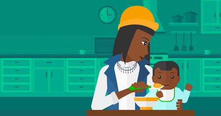 family home: An african-american mother holding a spoon and feeding baby on a kitchen background vector flat design illustration. Horizontal layout.