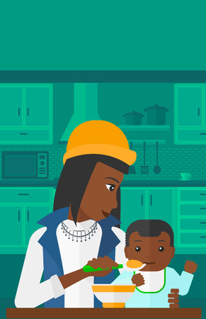 family eating: An african-american mother holding a spoon and feeding baby on a kitchen background vector flat design illustration. Vertical layout. Illustration