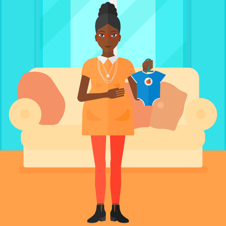 An african-american pregnant woman holding clothes for her baby on the background of living room vector flat design illustration. Square layout.
