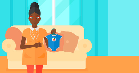 An african-american pregnant woman holding clothes for her baby on the background of living room vector flat design illustration. Horizontal layout.