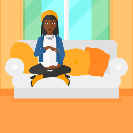 An african-american pregnant woman sitting on a sofa in living room vector flat design illustration. Square layout.