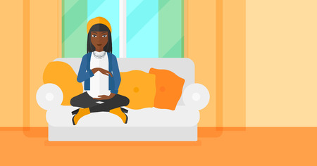 An african-american pregnant woman sitting on a sofa in living room vector flat design illustration. Horizontal layout. Vectores