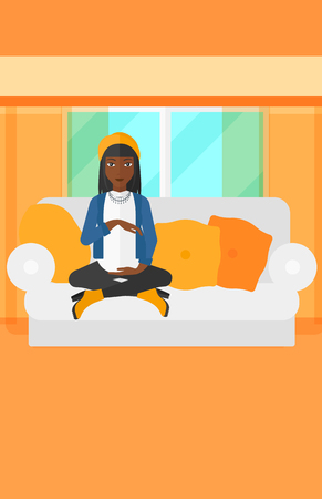sitting sofa: An african-american pregnant woman sitting on a sofa in living room vector flat design illustration. Vertical layout.