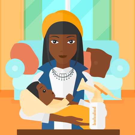An african-american woman holding a newborn baby and a breast pump standing on the table in front of her on the background of living room vector flat design illustration. Square layout.