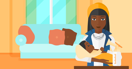 An african-american woman holding a newborn baby and a breast pump standing on the table in front of her on the background of living room vector flat design illustration. Horizontal layout.