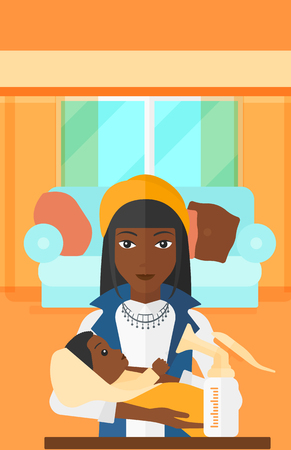 An african-american woman holding a newborn baby and a breast pump standing on the table in front of her on the background of living room vector flat design illustration. Vertical layout.