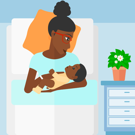 An african-american woman lying in bed with a newborn baby in a maternity ward vector flat design illustration. Square layout. Vectores