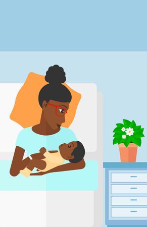 An african-american woman lying in bed with a newborn baby in a maternity ward vector flat design illustration. Vertical layout.