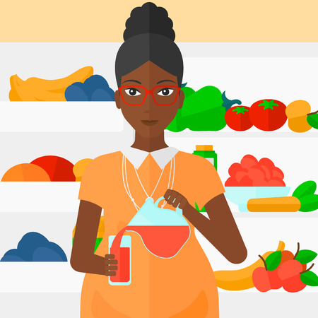 fruit drink: An african-american pregnant woman pouring juice in a glass on the background of  refrigerator full of fruits and vegetables vector flat design illustration. Square layout.