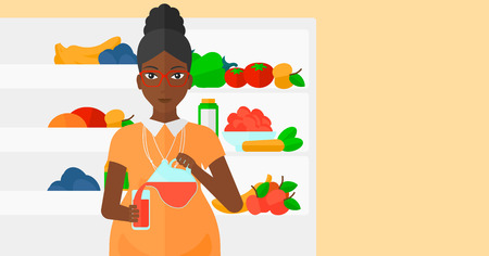 fruit drink: An african-american pregnant woman pouring juice in a glass on the background of  refrigerator full of fruits and vegetables vector flat design illustration. Horizontal layout.
