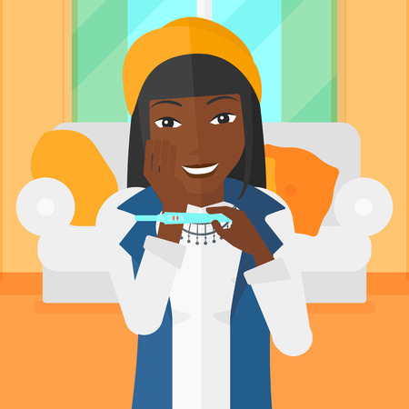 family human: An african-american woman looking at positive pregnancy test on the background of living room vector flat design illustration. Square layout.