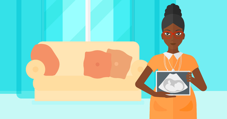 childbearing: An african-american pregnant woman holding a tablet with an ultrasound image on the background of living room vector flat design illustration. Horizontal layout.