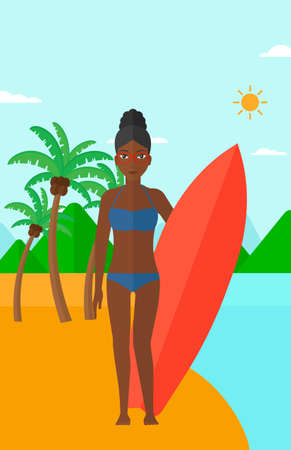 An african-american female surfer standing with a surfboard on the beach vector flat design illustration. Vertical layout. Иллюстрация
