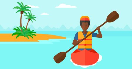 An african-american man riding in a canoe on the sea with a small island on a background vector flat design illustration. Horizontal layout.