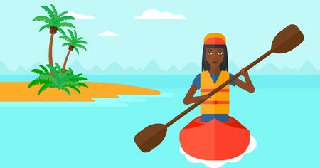 An african-american woman riding in a canoe on the sea with a small island on a background vector flat design illustration. Horizontal layout.