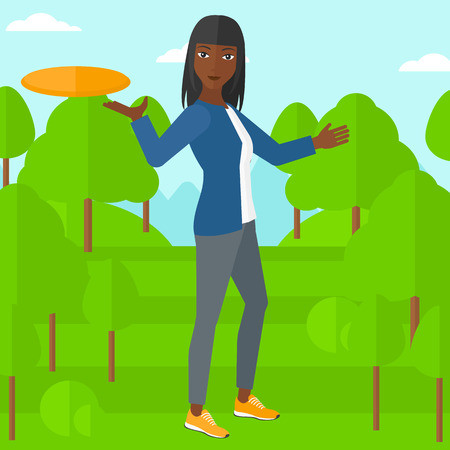 women exercise: An african-american woman playing frisbee on the background of green lawn with trees vector flat design illustration. Square layout. Illustration