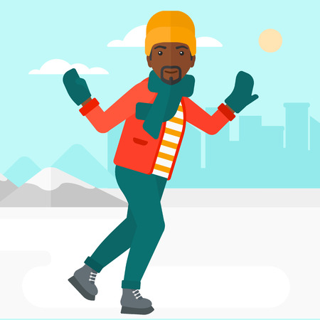 An african-american man ice skating on frozen lake on a city background vector flat design illustration. Square layout. Çizim