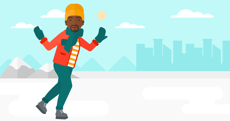 An african-american man ice skating on frozen lake on a city background vector flat design illustration. Horizontal layout.