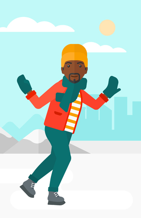 An african-american man ice skating on frozen lake on a city background vector flat design illustration. Vertical layout. Stok Fotoğraf - 52727450