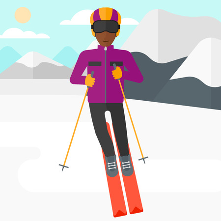 mountainside: An african-american man skiing on the background of snow capped mountain vector flat design illustration. Square layout. Illustration