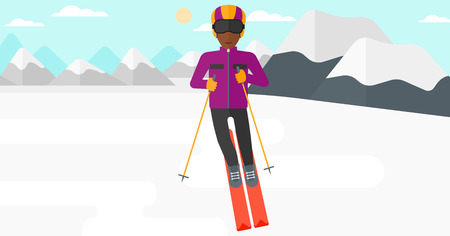 deportes caricatura: An african-american man skiing on the background of snow capped mountain vector flat design illustration. Horizontal layout.