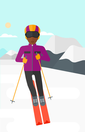 An african-american man skiing on the background of snow capped mountain vector flat design illustration. Vertical layout.