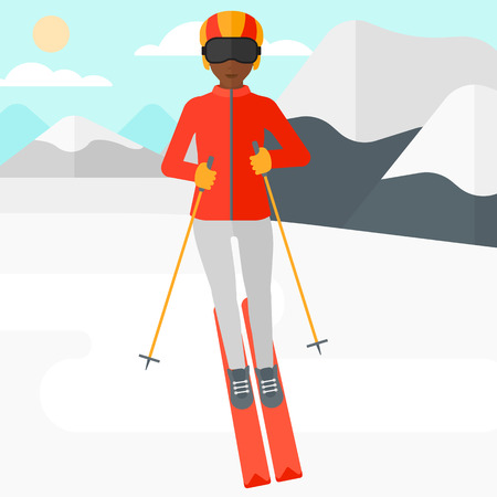 mountainside: An african-american woman skiing on the background of snow capped mountain vector flat design illustration. Square layout.